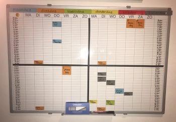 maandoverzicht met whiteboardjes